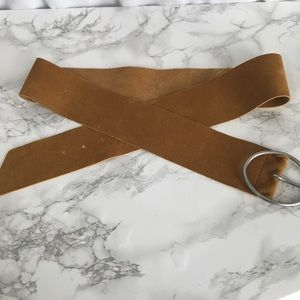 Tan Faux Suede Wide Belt